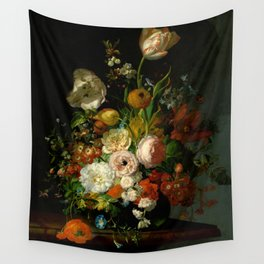 """Rachel Ruysch """"Still Life with Flowers in a Glass Vase"""" Wall Tapestry"""