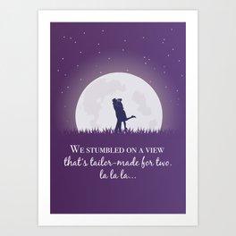 La la land movie phrase moon love Art Print