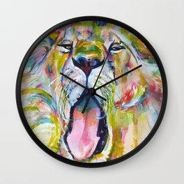 LION YAWNING Wall Clock