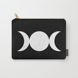 Triple Goddess Symbol – Divine Feminine – Maiden, Mother, Crone - White on Black Carry-All Pouch