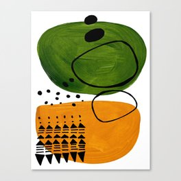 Modern Mid Century Fun Colorful Abstract Minimalist Painting Olive Green Yellow Ochre Buns Canvas Print