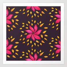 Whimsical Watercolor Floral Pattern In Pink And Purple Art Print