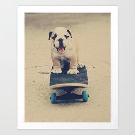 English Bulldog Rollin' Art Print