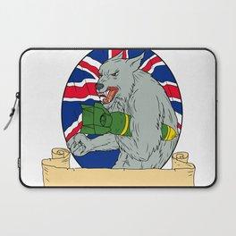 Grey Wolf Holding Bomb Union Jack Drawing Laptop Sleeve