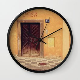 CLOSED DOOR NEAR WINDOW Wall Clock