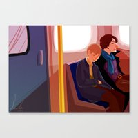 johnlock Canvas Prints featuring Johnlock on the tube after a case by Sama Ma