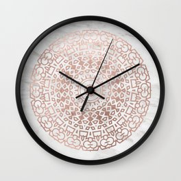 Marble mandala - beaded rose gold on white Wall Clock
