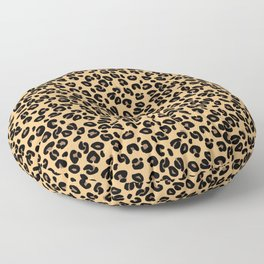 Classic Black and Yellow / Brown Leopard Spots Animal Print Pattern Floor Pillow
