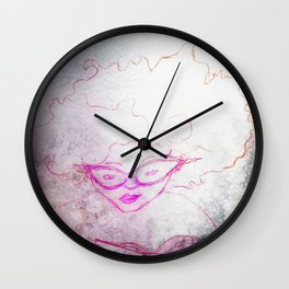 sketch of a girl with funky hair and horn-rimmed glasses reading adventure novel Wall Clock