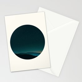 Mid Century Modern Round Circle Photo Graphic Design Minimal Night Sky With Mountain Silhouette Stationery Cards