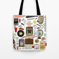 tenenbaums Tote Bags featuring The Royal Tenenbaums by Shanti Draws
