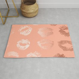 Sweet Life Lips Peach Coral Pink Shimmer Rug