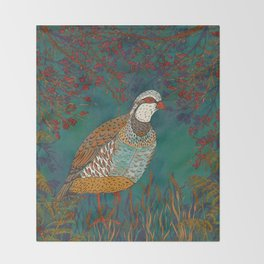 Partridge in Hedgerow Throw Blanket