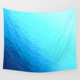 Turquoise Blue Texture Ombre Wall Tapestry