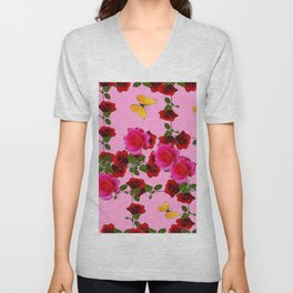 CLIMBING PINK & RED ROSES YELLOW BUTTERFLIES Unisex V-Neck