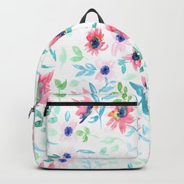 Pink & Green Floral Pattern Backpack