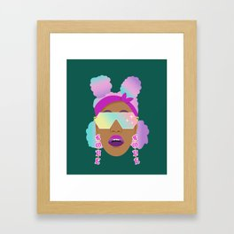 Top Puffs Girl #naturalhair #rainbowhair #shades #lipstick #blackunicorn #curlygirl Framed Art Print