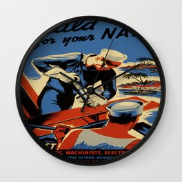 Vintage poster - Build for your Navy! Wall Clock