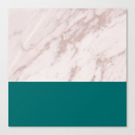 Real Rose Gold Marble and Biscay Bay Canvas Print
