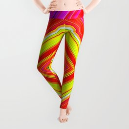 Rainbow Abstract Psychedelic Neon Dawn Triangle Design - Pink Red Violet Leggings