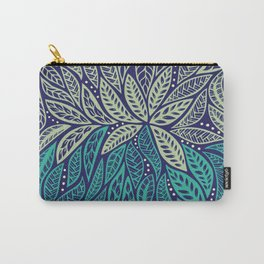 Polynesian floral blue purple tattoo design Carry-All Pouch