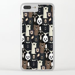 Bears of the world pattern Clear iPhone Case