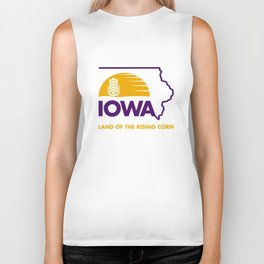 Iowa: Land of the Rising Corn - Purple and Gold Edition Biker Tank