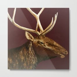 Big Bull Elk Profile Metal Print