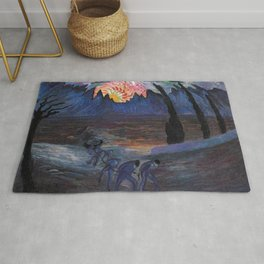 Mountain Sunrise after Fishing nautical landscape painting by Marianne von Werefkin Rug