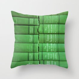 Antique Green Spines Throw Pillow