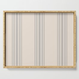 Simple Farmhouse Stripes in Gray on Beige Serving Tray