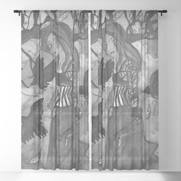 Raven Witch - Black & White Sheer Curtain