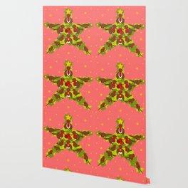 Xmas robins and stars Wallpaper