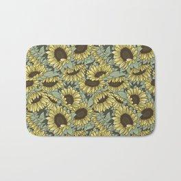 Sunflower Pattern - Green Bath Mat