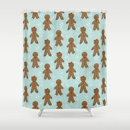 Gingerbread man cute cookies pattern gifts seasonal winter baking tradition mint Shower Curtain
