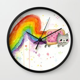 Rainbow Cat in Pop Tart Wall Clock