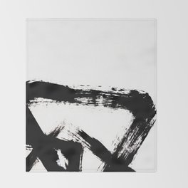 Brushstroke [8] - a simple, abstract, black and white india ink piece Throw Blanket