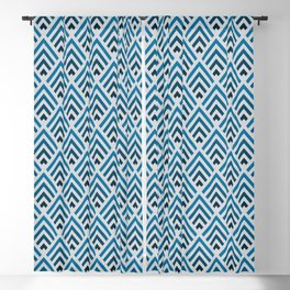 Shades of Strong Blue / Chevron Blackout Curtain