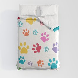 Colorful paw pattern background Comforters