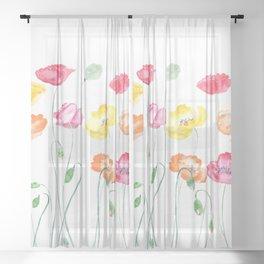 colorful poppies watercolor  horizontal Sheer Curtain