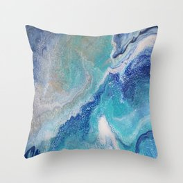 Dancing Tides: Acrylic Pour Painting Throw Pillow