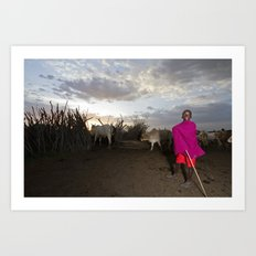 Young Shepherd Returns for the Night Art Print