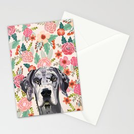 Great Dane florals pet portrait art print and dog gifts Stationery Cards
