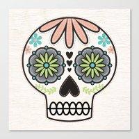 sugar skull Canvas Prints featuring Sugar Skull by Liz Urso
