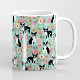 Floral Boston Terrier cute flowers spring bouquet love valentines day black and white mint dogs Coffee Mug