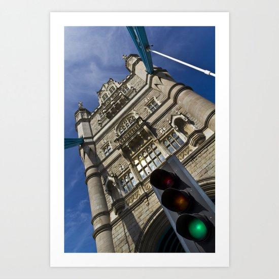 Tower Bridge London Traffic Lights Art Print