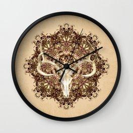 Deer Skull and Belladonna Mandala Wall Clock