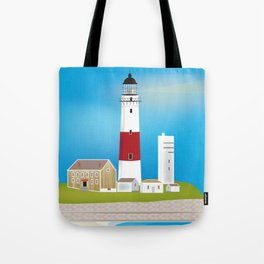 Long Island, New York - Skyline Illustration by Loose Petals Tote Bag