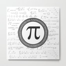 The Pi symbol mathematical constant irrational number, greek letter, and many formulas background Metal Print