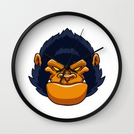 angry ape gorilla face Wall Clock